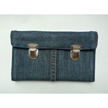 Portmonetka Vintage, z ciemnego jeansu, z granatową podszewką.